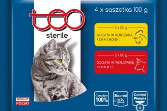 TEO® STERILE czteropak saszetek dla kotów po zabiegu sterylizacji/kastracji